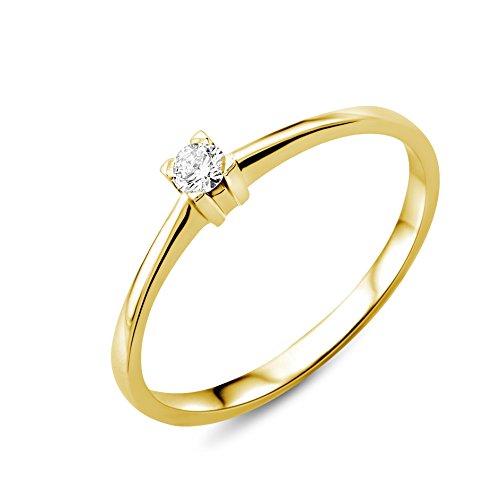 Miore Schmuck Damen 0.07 Ct Solitär Diamant Verlobungsring Ring aus Gelbgold 18 Karat / 750 Gold