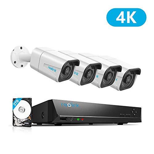 Reolink 4K Ultra HD 8-CH PoE Überwachungskamera Set, 8MP Video Überwachungssystem mit 4X 8MP IP Kameras, 8-CH NVR Rekorder mit 2TB HDD fürAußen,Innen,HausSicherheit, RLK8-800B4