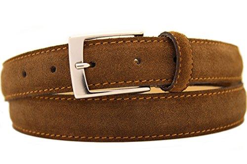 NISAR Italienischer Wildledergürtel Herren Damen Suede Belt Braun UniSex Gürtel 3cm Breit (90cm)