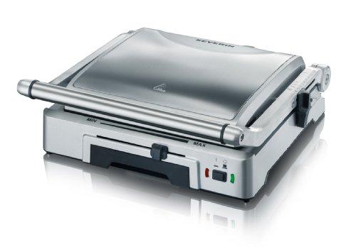 SEVERIN Kontaktgrill für Sandwiches, Steak und als Panini Grill, antihaftbeschichteter Sandwich Maker für fettfreies Grillen, 1.800 W, Edelstahl gebürstet-silber, KG 2392