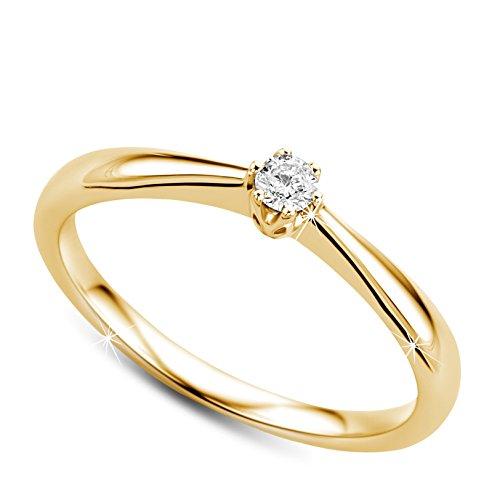 Orovi Ring für Damen Verlobungsring Gold Solitärring Diamantring 9 Karat (375) Brillianten 0.09crt GelbGold Ring mit Diamanten Ring Handgemacht in Italien