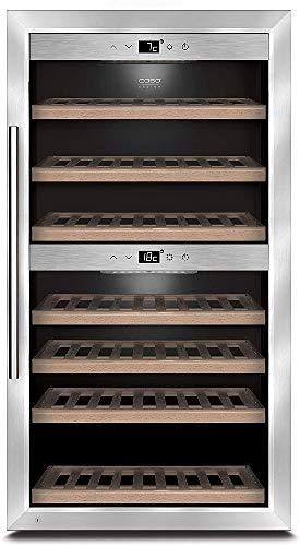 CASO WineComfort 66   Weinkühlschrank für 66 Flaschen   2 Zonen auf 5-20°C einstellbar, Touch, LED beleuchtet freistehend, UV-Filterglas, edelstahl