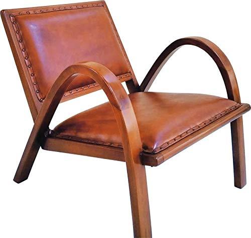 Lounge Sessel Braun Echtleder Relaxstuhl Vintage Retro Stuhl Leder Holz Armlehne