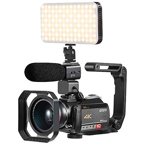 Camcorder 4K, UHD WiFi DV Camcorder mit 12X optischem Zoom/Zeitraffer/Anschluss mit Smart LED Fülllicht, Mikrofon, Weitwinkelobjektiv, Gegenlichtblende und Handstabilisator (32GB SD kostenlos)