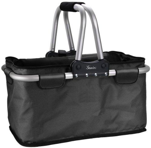 Genius Einkaufskorb mit 25 kg Tragegewicht faltbar Reißverschluss Einkaufs-Trolley Einkaufs-Korb Einkaufs-Tasche Shopping-Bag