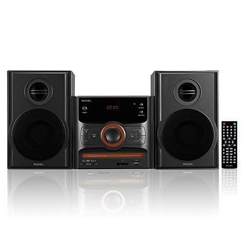 Roxel RCD-250BT All-in-One Kompakter Mikro-Hifi-CD-Player, Mini-Stereo, DVD-Player, Karaoke-Funktion, Bluetooth, Fernbedienung, FM-Radio, USB-MP3-Wiedergabe, 40 W RMS-Ausgang