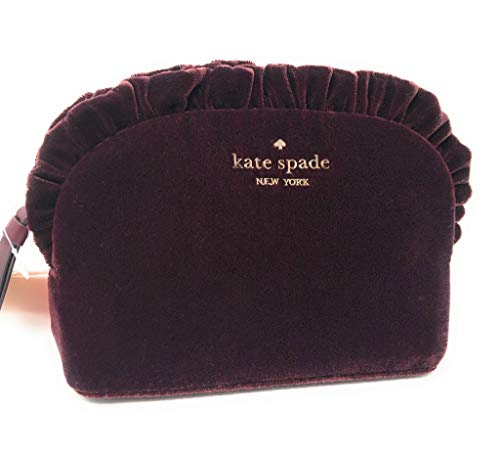 Kate Spade New York Small Ruffle Velvet Cosmetic Make-Up Clutch Bag Chocolate Cherry