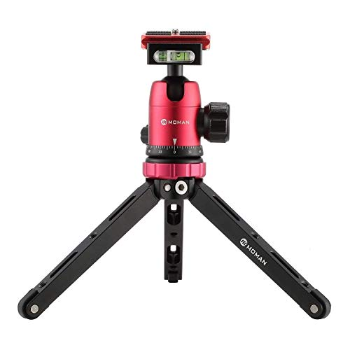 Moman Tischstativ mit Kugelkopf, Mini Kamera Stativ 360° Stativkopf, 1/4 3/8 Schraubbefestigung, CNC Aluminium 10kg Nutzlast mit Tragetasche für Canon Sony Nikon Panasonic DSLR Kamera, Smartphone