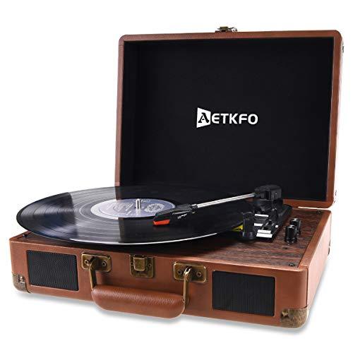 Plattenspieler, AETKFO Bluetooth Schallplattenspieler Vinyl Plattenspieler mit Lautsprecher, 3 Geschwindigkeiten, Plattenspieler Koffer, Vinyl-zu-MP3-Funktion/USB/Aux-In/RCA(Braun)
