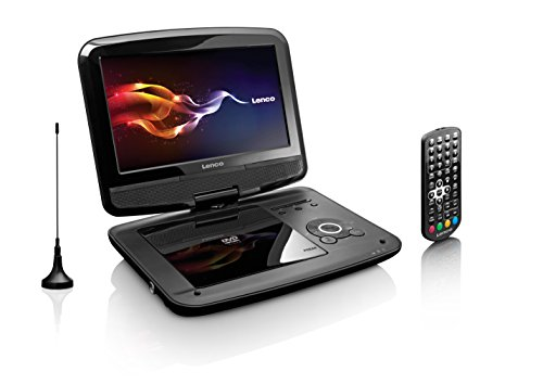 Lenco Tragbarer DVD-Player DVP-9413 22,9 cm (9 Zoll) DVB-T2, 12V Kfz Adapter, Kopfstützen-Halterung, USB, SD, schwarz