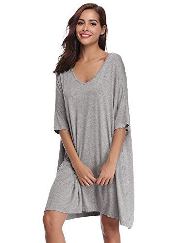 Aibrou Damen Nachthemd Nachtkleid Kurz Sommer Nachtwäsche Negligee Umstandskleid Stillnachthemd Sleepshirt aus Modal Grau M