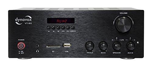 Dynavox Stereo Kompakt-Verstärker VT-80 schwarz, schraubbare Anschluss-Terminals für 4 Lautsprecher, Fernbedienung nur für Digital-Eingänge (USB, SD-Card), integrierte BT-Antenne