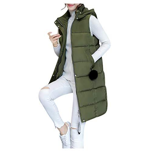 Deloito Winter Ärmellos Mantel Damen Mode Daunen Weste mit Kapuze Baumwolle Steppmantel Dünn Wild Trenchcoat Übergangs Jacke Bluse Hemden (Grün,XXX-Large)