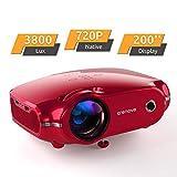 Projektor, portabler Crenova Mini HD Beamer 1080P unterstützt, 3800 Lumen Beamer mit 200' Bildgröße und für PC/MAC/DVD/TV/Xbox/Filme/Spiele/Smartphone mit kostenlosem HDMI-Kabel, Rot