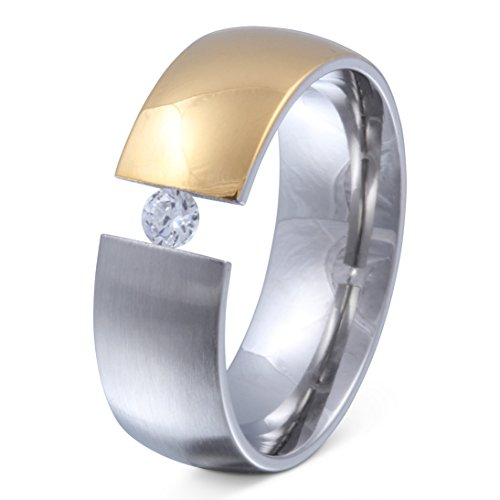 Juwelier Schönschmied - Damen Partnerring Ehering Freundschaftsring Hochzeitsring Xenonia Edelstahl Zirkonia 62 (19.7) 182Dac