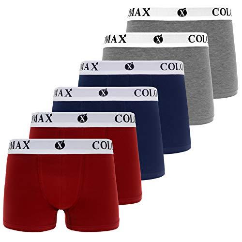COLOMAX Herren Boxershorts Unterhosen Unterwäsche Baumwolle S-M-L-XL-XXL 6er Set (XXL, 2X Blau / 2X Rot / 2X Grau (Weiß))
