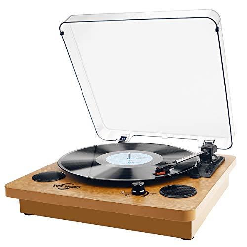 Plattenspieler, Bluetooth Schallplattenspieler Vinyl Plattenspieler Turntable und Digital Encoder mit Lautsprecher Riemenantrieb Aux-In RCA 33/45/78 U/min - Naturholz