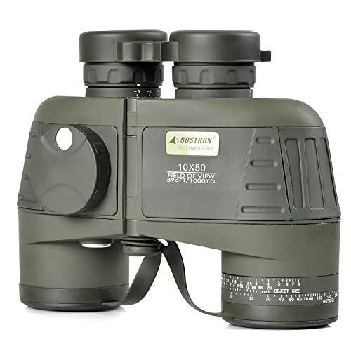 10X50 Wasserdichtes Beschlagfreies Militär-Marine-Fernglas mit Entfernungsmesser und Kompass für Navigation, Bootfahren, Angeln, Wassersport, Jagd und Mehr