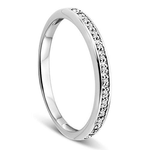 Orovi Damen-Ring Memoire HochzeitsringWeißgold 9 Karat (375) Brillanten 0.05 ct Verlobungsring Diamantring