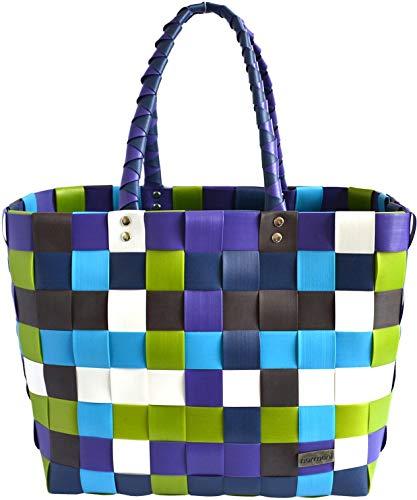 normani Einkaufstasche Shopper geflochten aus Kunststoff - robuster Strandkorb Vintage Style 38cm x 25cm x 28cm Farbe Classic/Neptun