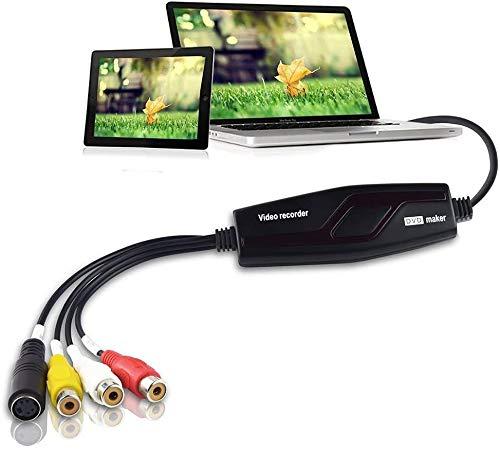 DIGITNOW! Video Grabber Überträgt Hi8 VHS auf Digital DVD für Windows 10 / Mac, Video Capture Karte mit Scart/AV Adapter