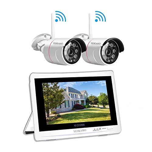 Überwachungskamera Set Aussen WLAN mit 12 Zoll Monitor, YESKAMO Videoüberwachung NVR Funk Überwachungssystem mit 1TB Festplatte, 30m Nachtsicht, Bewegungserkennung
