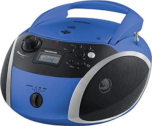 Grundig GRB 3000 BT Tragbare Radio Boombox mit Bluetooth Blau/Silber