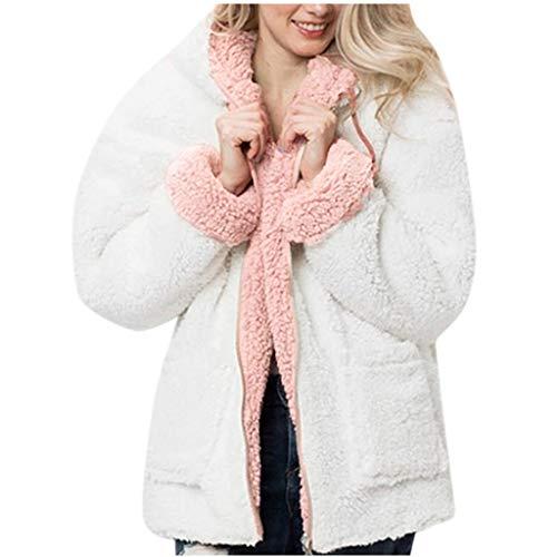 POPLY Damen Jacke Mantel Wendemäntel, Frauen Herbst Winter Mode Warmer Einfarbig Langarm Kunstpelz Outwear Coat Strickjacken mit Kapuze Plüsch Reißverschluss Tasche (Weiß,XL)