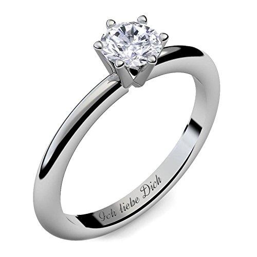 Verlobungsring Silber Ring Damen Silber 925 Zirkonia Stein mit GRAVUR & ETUI-BOX Silberring Frau Verlobungsringe Damenring rhodiniert Echt Schmuck Antragsring AM195SS925ZI56