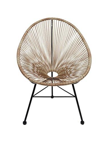 Retro Acapulco Lounge Relax Sessel Indoor & Outdoor Rahmen & Füße Pulverbeschichtet Farbe Natur BRAUN