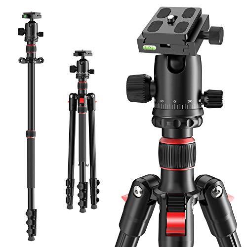 Kamerastativ 168 cm, tragbares Reisestativ mit Einbeinstativ 360° Panoramakugel, kompaktes, leichtes Stativ für Camcorder DSLR spiegellose Canon, Nikon, Sony Kamera, Standard 1/4 Schnellwechselplatte