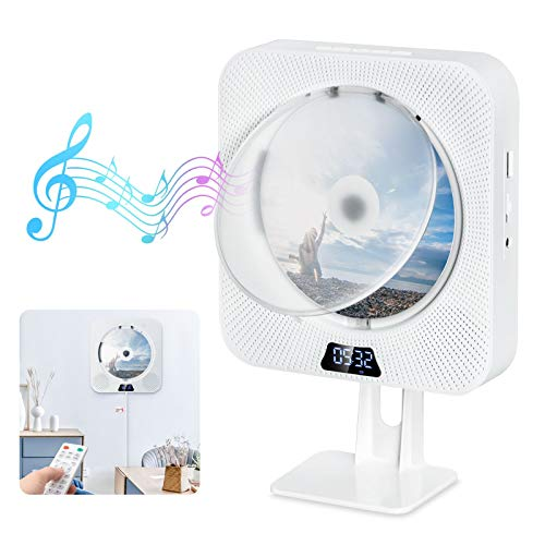 Tragbarer CD Player Gueray Wandmontage Bluetooth Eingebaute HiFi-Lautsprecher FM-Radio Home-Audio USB-MP3-Player