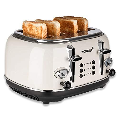 Korona 21676 Toaster   4 Scheiben   Creme   Röstgrad-Anzeige   auftauen, rösten, aufwärmen   1630 Watt   Brötchen-Aufsatz   Krümel-Schublade   Brotscheiben-Zentrierung