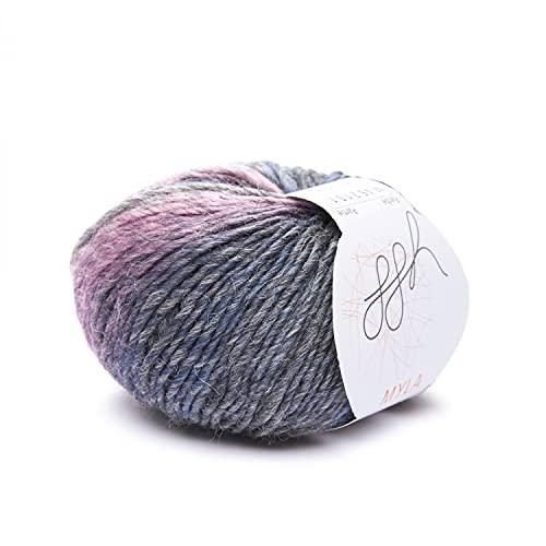 ggh Myla - Schurwolle Mischung - 50g Wolle zum Stricken oder Häkeln - Wolle mit Farbverlauf - Farbe 002 - Grau-Pastell meliert