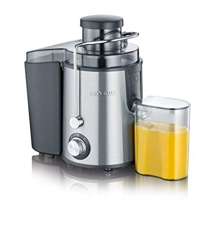 SEVERIN Entsafter, geräuscharme Saftmaschine für vitaminreiche Obst- und Gemüsesäfte, elektrische Saftpresse aus Edelstahl, 500 ml Auffangbehälter, schwarz/Edelstahl ES 3566