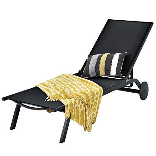 COSTWAY Sonnenliege Gartenliege Liegestuhl mit 6 Stufen Verstellbarer Rückenlehne Armlehnen und Rollen, Sonnenliege Alu und Stoff, Relaxliege für Strand, Hof, Balkon, Poolrand