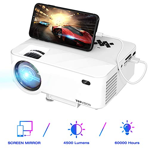 TOPVISION Mini Beamer mit Screen Mirroring,4500 Lumen Heimkino Beamer Full HD 1080P Video Beamer mit 180' Display, 60000 Stunden LED Beamer kompatibel mit HDMI/USB/SD/AV/VGA