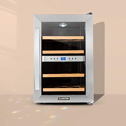 Klarstein Reserva - Getränkekühlschrank, Weinkühlschrank, 34 L, 12 Flaschen, 4 Regaleinschübe, leise, 2 Zonen, 7-18°C Temperaturbereich, LED-Innenbeleuchtung, schwarz-silber