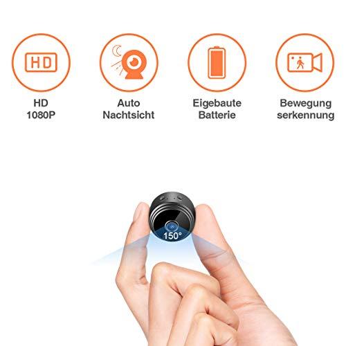 TODAYI Mini Kamera Klein Akku Überwachungskamera Innen HD Automatische Nachtsicht Minikamera mit Bewegungserkennung und Speicher Aufzeichnung Aussen Tragbare Mikro Nanny Cam