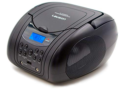 Lauson MX19 Tragbarer CD Player | USB MP3-CD Spieler | CD Boombox USB | UKW Radiotuner | Kopfhörern, AUX-In, Netz & Batterie (Schwarz)