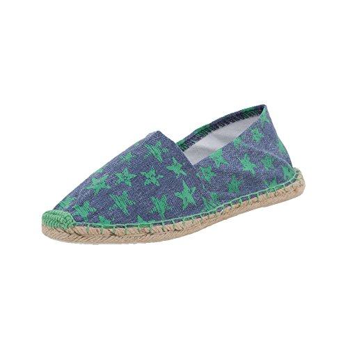 Japanwelt Espadrilles Canvas Damen und Herren Sterne Muster Grün-Blau Sommerlatschen Slipper Größe 41