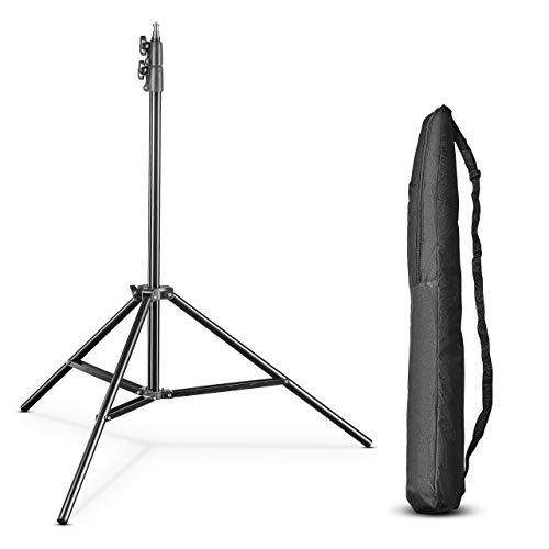 Walimex pro FT-8051 Lampenstativ 260cm - Lichtstativ mit Federdämpfung, Höhe max 260 cm, 5 kg Traglast, Aluminium, für Fotografie Studio Outdoor, mit Tasche und Adapter