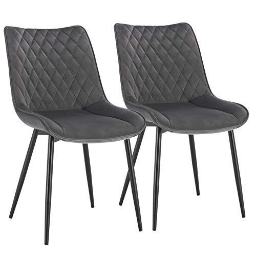 WOLTU Esszimmerstühle BH209dgr-2 2er Set Küchenstuhl Polsterstuhl Wohnzimmerstuhl Sessel mit Rückenlehne, Sitzfläche aus Samt, Metallbeine, Dunkelgrau