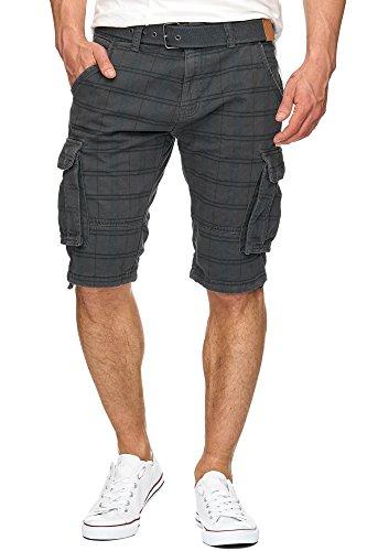 Indicode Herren Monroe Check Cargo Shorts kariert mit 6 Taschen inkl. Gürtel aus 100% Baumwolle | Kurze Hose Bermuda Sommer Herrenshorts Short Men Pants Cargohose kurz f. Männer Iron L