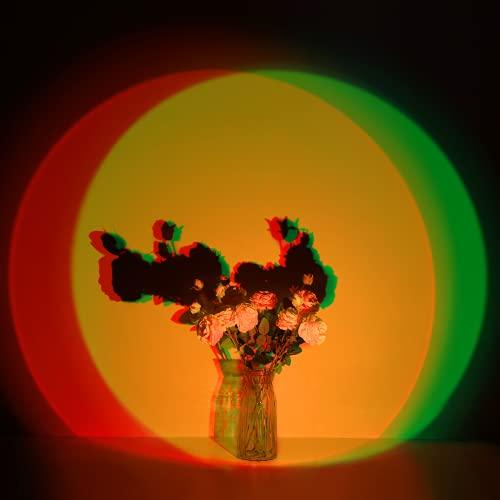 Sunset Lamp, RGB Sonnenuntergang Projektor Lampe mit 7 Farb- und 6 Dynamischen Modi, Romantik USB Dekoration LED Licht für Schlafzimmer, Wohnzimmer, Wand, Standleuchte, Große Bilder