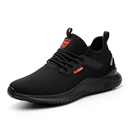 Ulogu Sicherheitsschuhe Herren Arbeitsschuhe Damen Leicht Atmungsaktiv Schutzschuhe Stahlkappe Sneaker Wanderschuhe 43 EU Schwarz#8