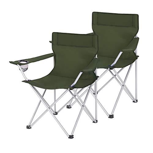 SONGMICS Campingstühle, 2er Set, Klappstühle, Outdoor-Stühle mit Armlehnen und Getränkehalter, stabiles Gestell, bis 120 kg belastbar,grün GCB001C01