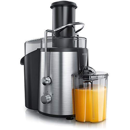 Arendo - Entsafter Edelstahl elektrisch - 700 ml Entsafter, 1700 ml Tresterbehälter - 2 Geschwindigkeiten - Edelstahlsieb - mit Stampfer - Sicherheitsbügel - Obst und Gemüse Juicer