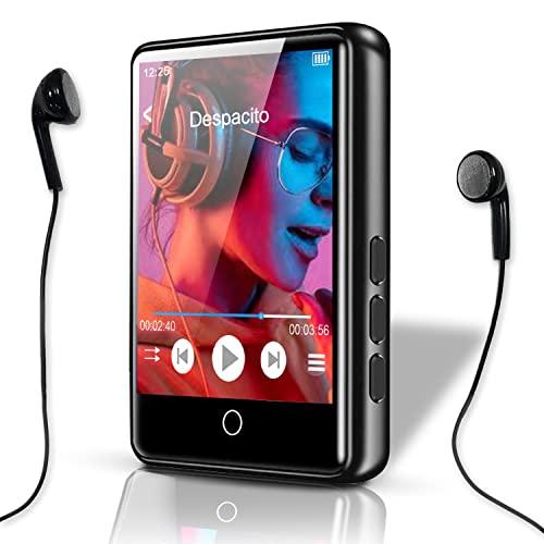 MP3 Player, Bluetooth 5.0, HiFi Verlustfreier Mp3 Player 2.4' LCD Touchscreen Musikplayer mit Lautsprecher Video FM E-Book Aufzeichnung Unterstützt 128G SD (Kopfhörern +USB+ Deutsches Handbuch)