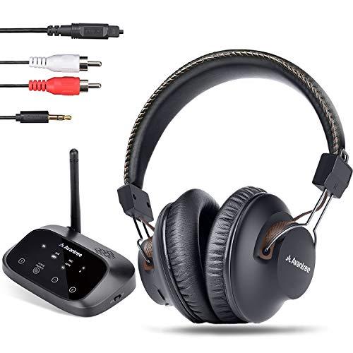 Avantree HT5009 40 Std Funkkopfhörer Kabellose zum Fernseher mit Sender (OPTISCH RCA AUX), Wireless Bluetooth 5.0 TV Kopfhörer, Hohe Lautstärke für Senioren, 50m großer Reichweite, ohne Verzögerung